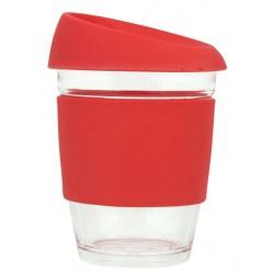 Red 340ml Reusable Glass Karma Kup with Silicone Band and Lid