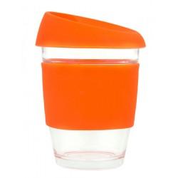 Orange 340ml Reusable Glass Karma Kup with Silicone Band and Lid