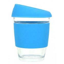 Blue 340ml Reusable Glass Karma Kup with Silicone Band and Lid