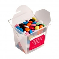 Frosted Pp Noodle Box Filled with Choc Beans (Smartie Look Alike) 100G (Mixed Colours)