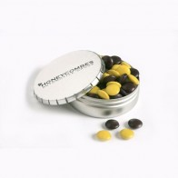 Click Clack Tin Filled with Choc Beans 70G (Corporate Colours)