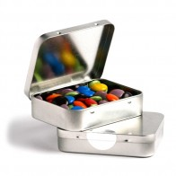 Rectangle Hinge Tin Fillled with Choc Beans 65G (Corporate Colours)