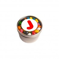 Small Round Acrylic Window Tin Fillled with Jelly Beans 170G (Mixed Colours or Corporate Colours)