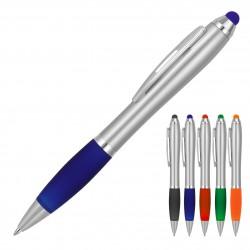 Plastic Pen Ballpoint Stylus Silver Cara