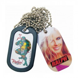 Photoetched dog tag full colour print with ball chain