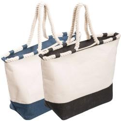 Zippered Laminated Jute Canvas Tote Bag