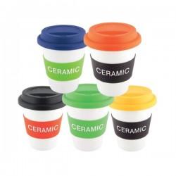 White Ceramic Takeaway Cup